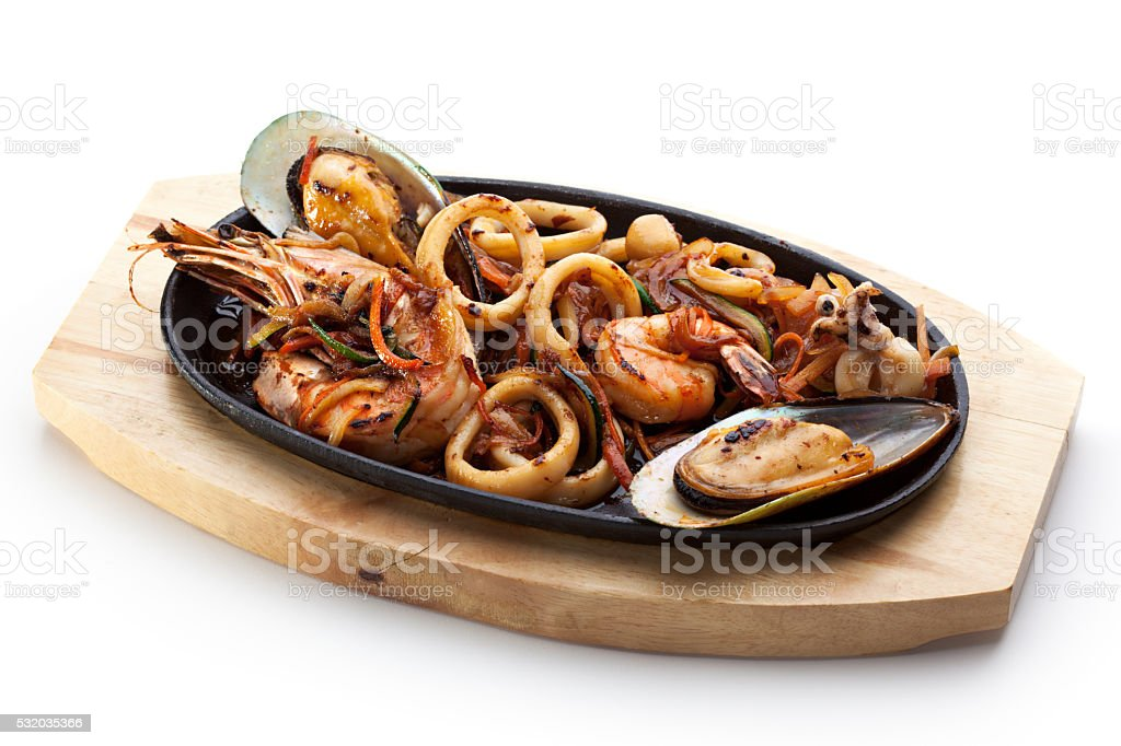 Roasted Shrimp and Mussels stock photo