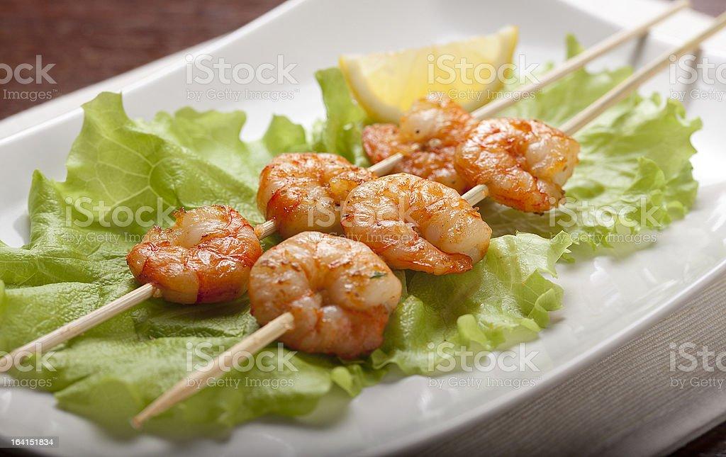 Roasted shrimps royalty-free stock photo