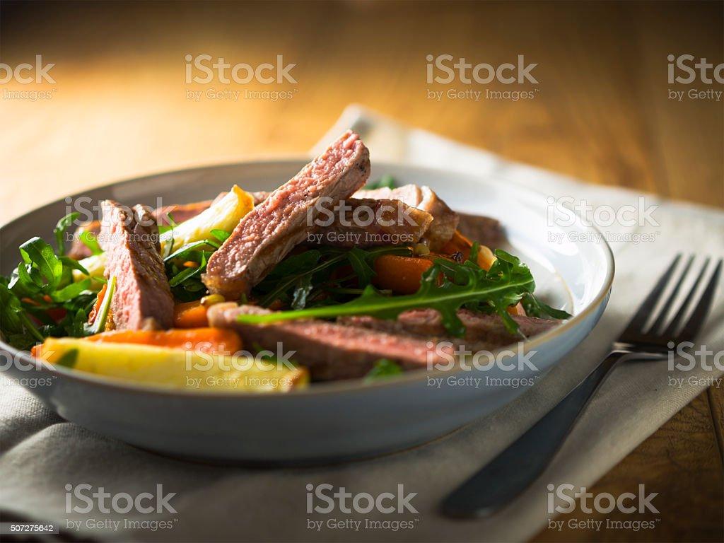 roasted sirlion steak salad stock photo