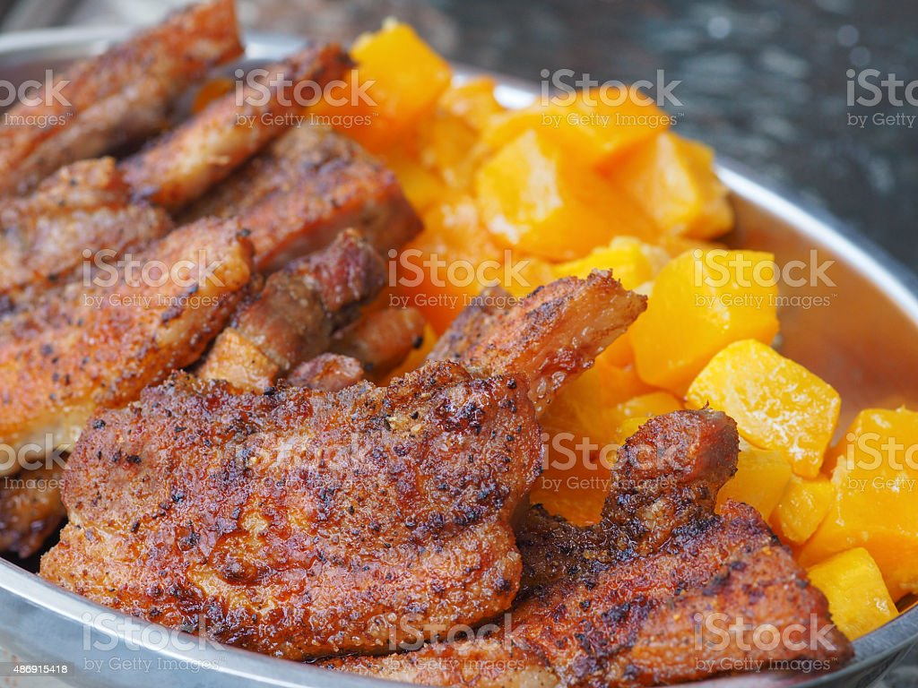 Roasted Sliced Pork Belly stock photo