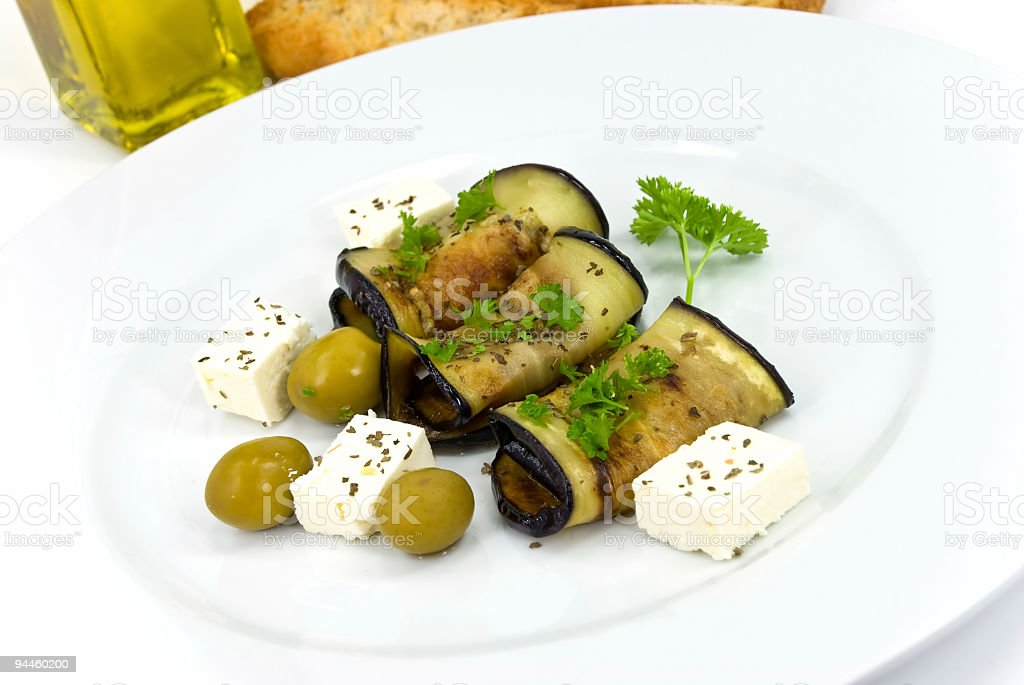 roasted slices of eggplant,cheese,vegetable royalty-free stock photo