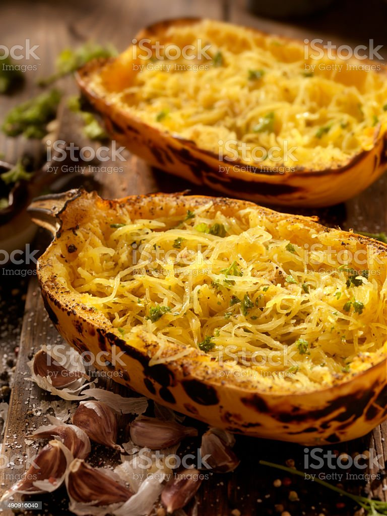 Roasted Spaghetti Squash with Garlic Herb Butter stock photo