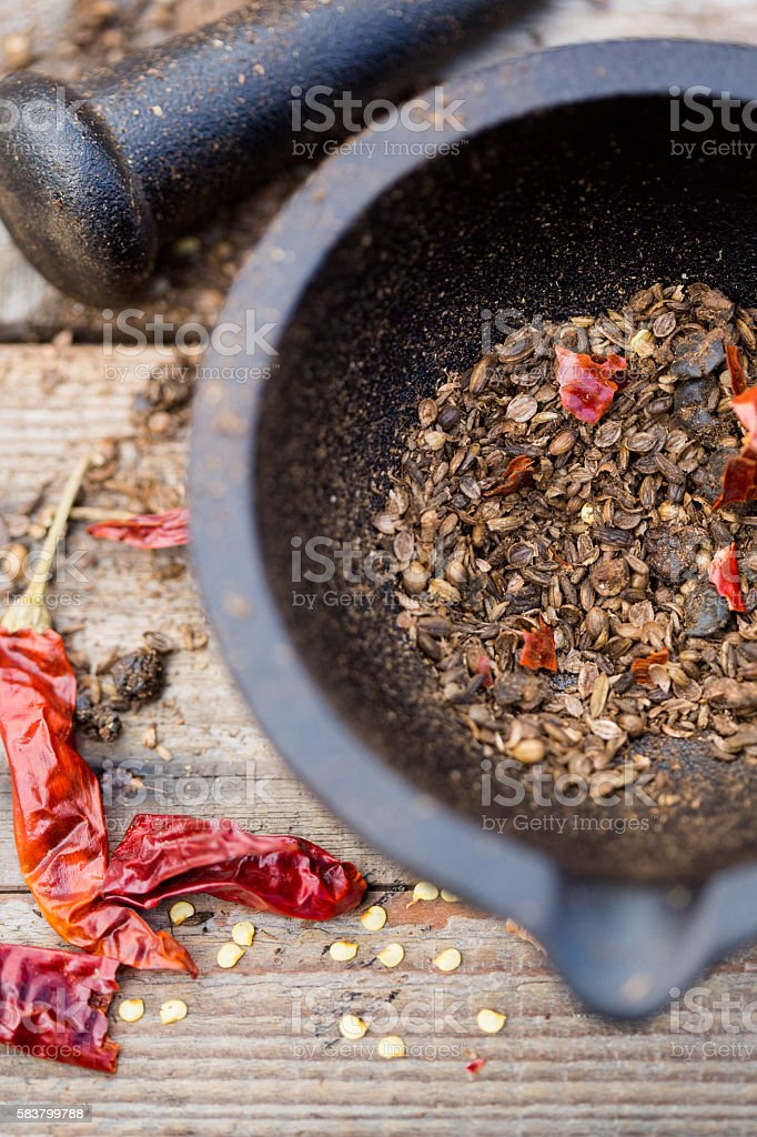 Roasted Spices Mortar Pestle stock photo