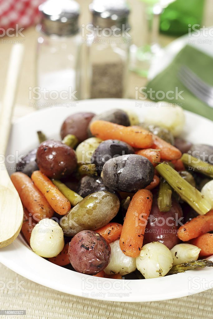 Roasted Spring Vegetables stock photo