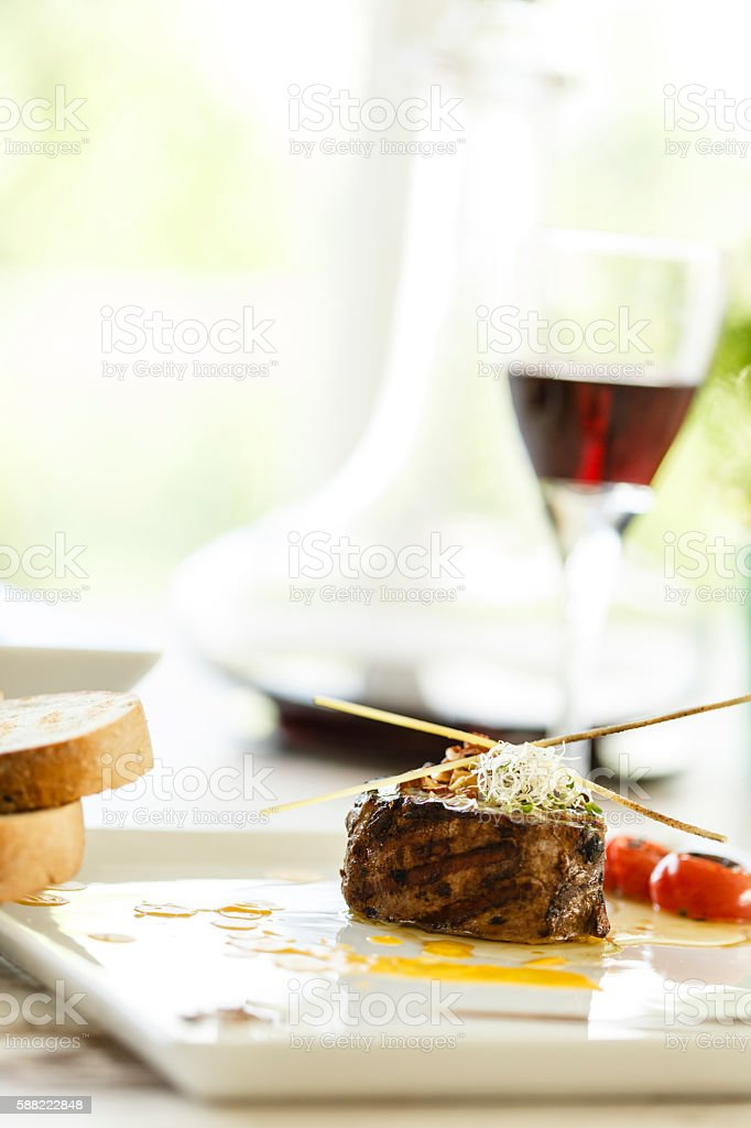 Roasted steak and red wine for lunch stock photo