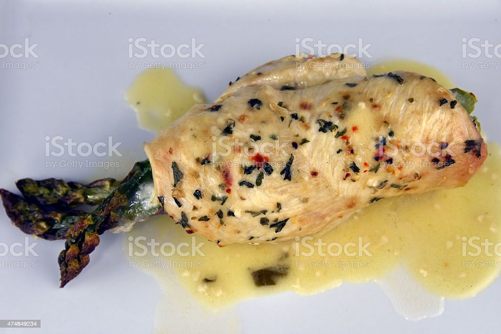 Roasted Stuffed Chicken Breast royalty-free stock photo