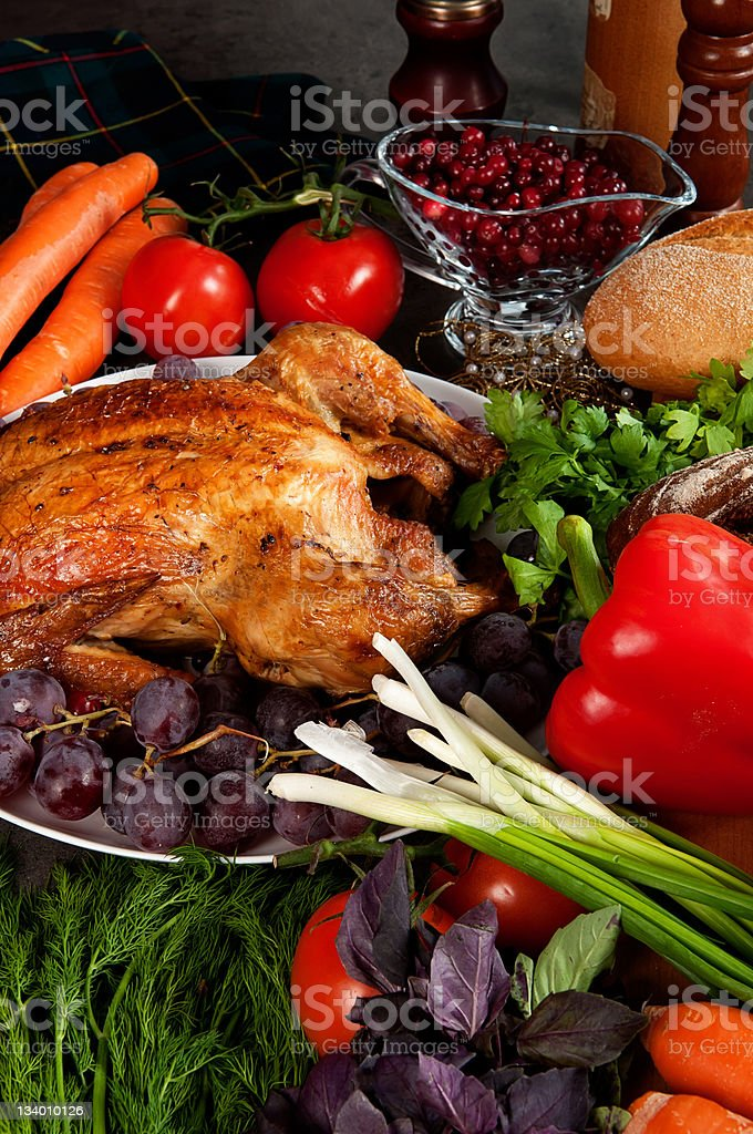 Roasted stuffed holiday turkey royalty-free stock photo