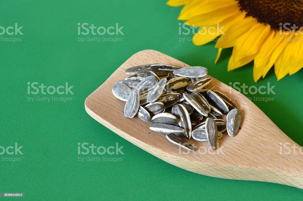 Roasted sunflower seeds stock photo