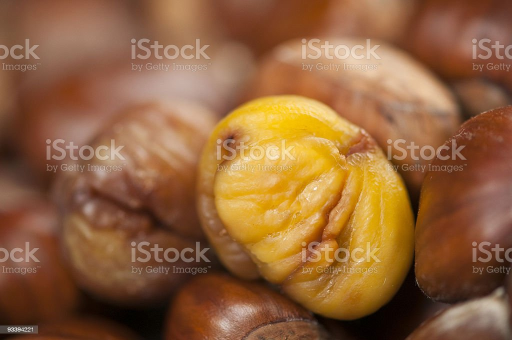 roasted sweet chestnut kernel ready to eat royalty-free stock photo