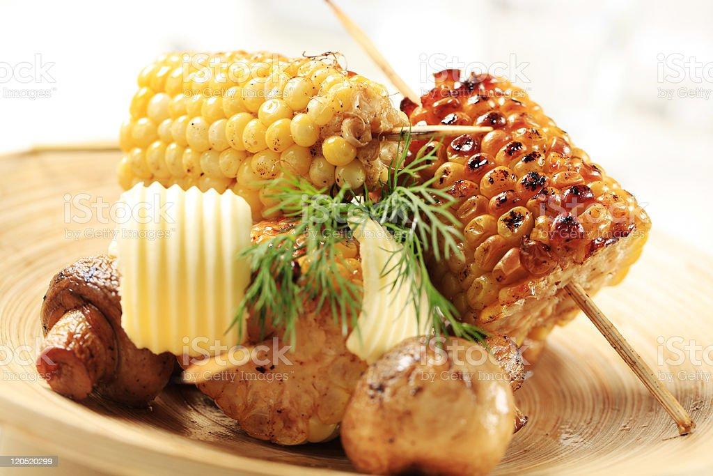 Roasted sweet corn and mushrooms royalty-free stock photo