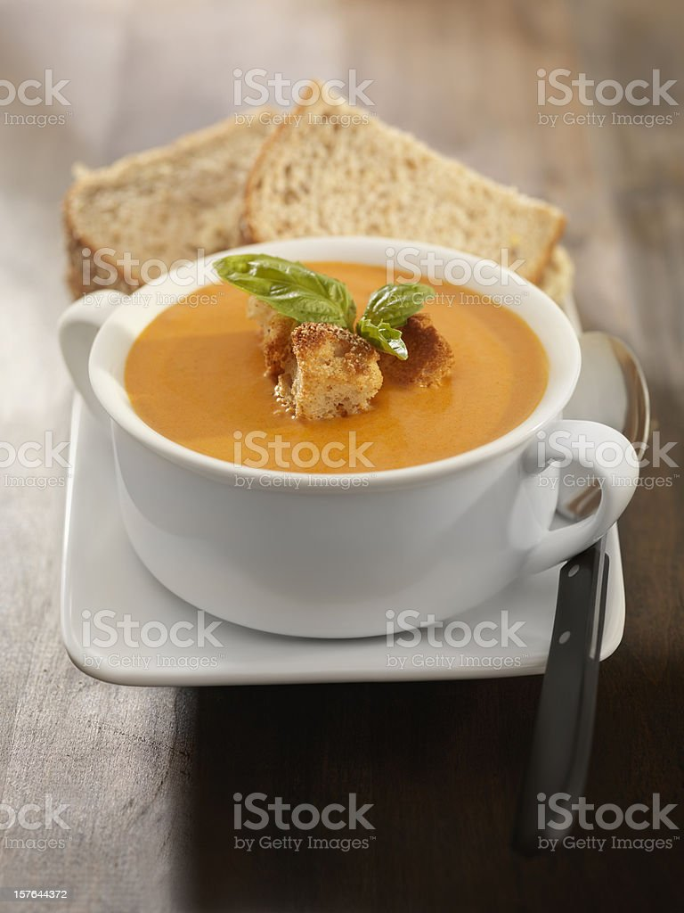 Roasted Tomato and Basil Bisque with a Sandwich stock photo