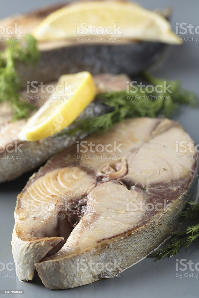 Roasted tuna steaks royalty-free stock photo
