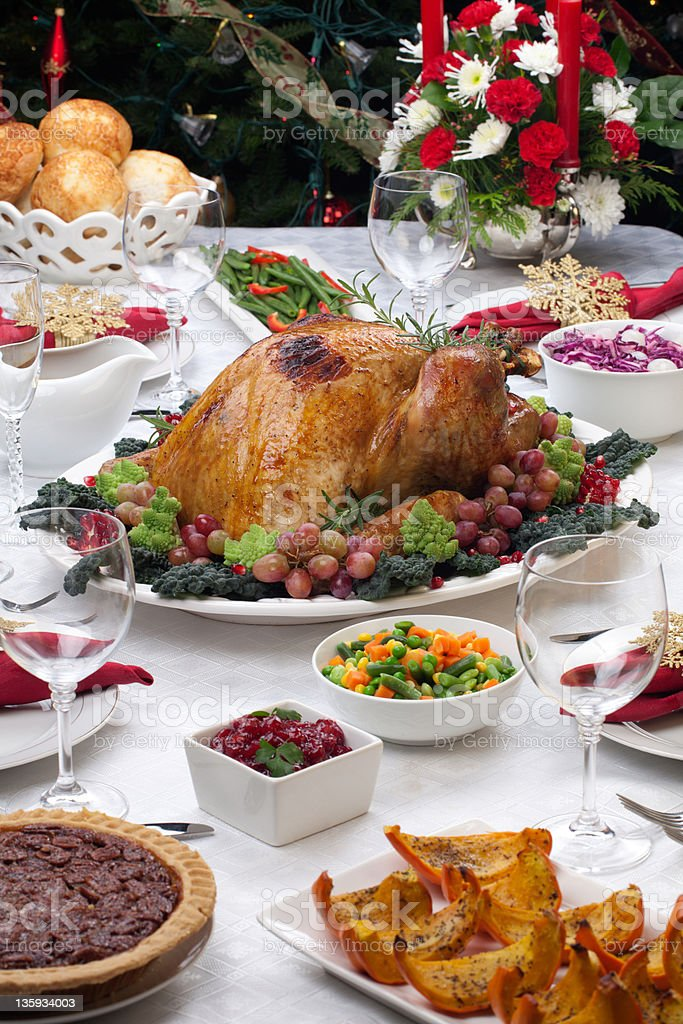 Roasted Turkey and Christmas Tree royalty-free stock photo