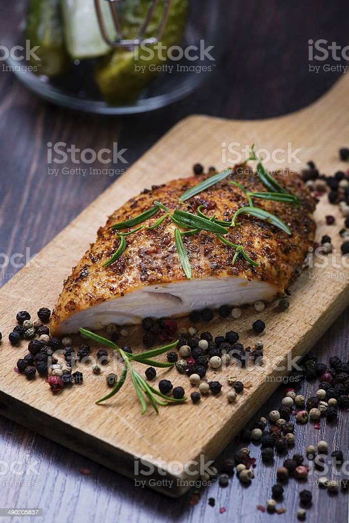 Roasted turkey breast stock photo