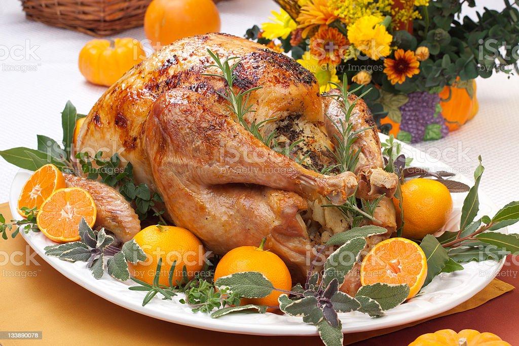 Roasted turkey feast stock photo
