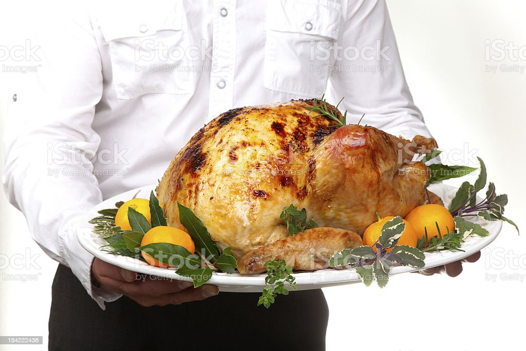 Roasted turkey feast royalty-free stock photo