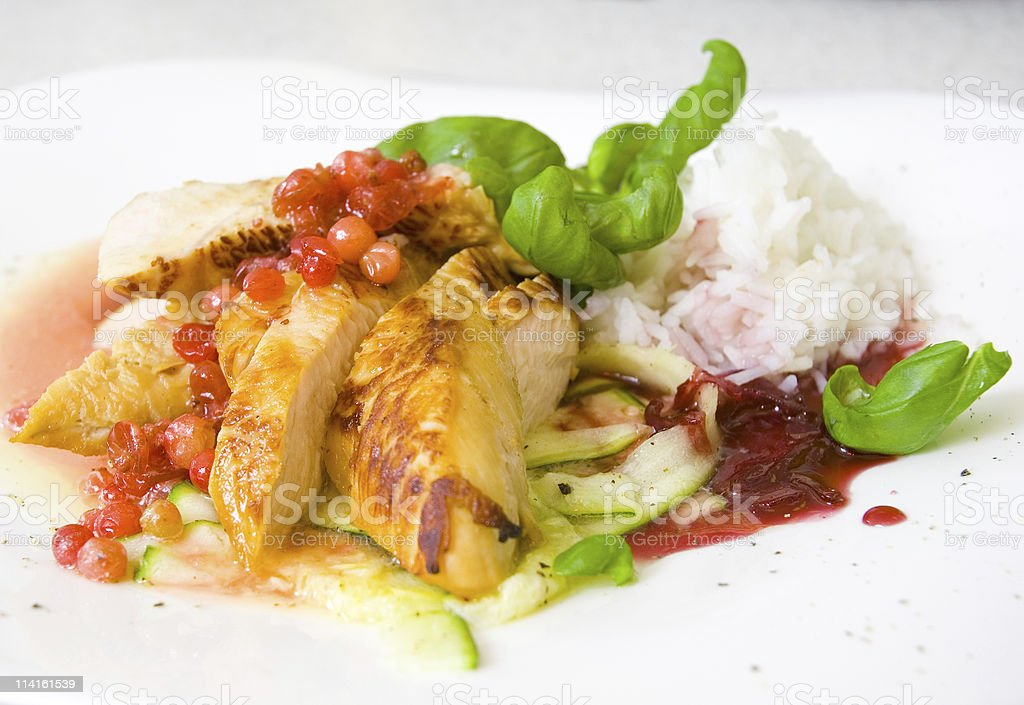 roasted turkey fillet with cranberry sauce and rice royalty-free stock photo