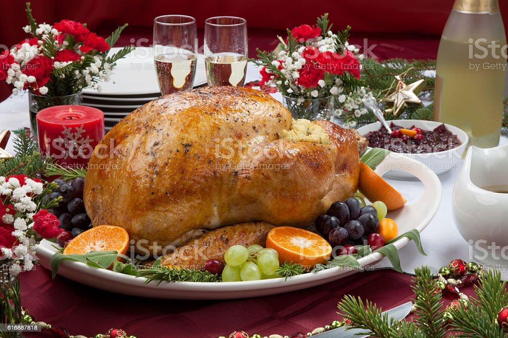 Roasted Turkey for Christmas Dinner stock photo