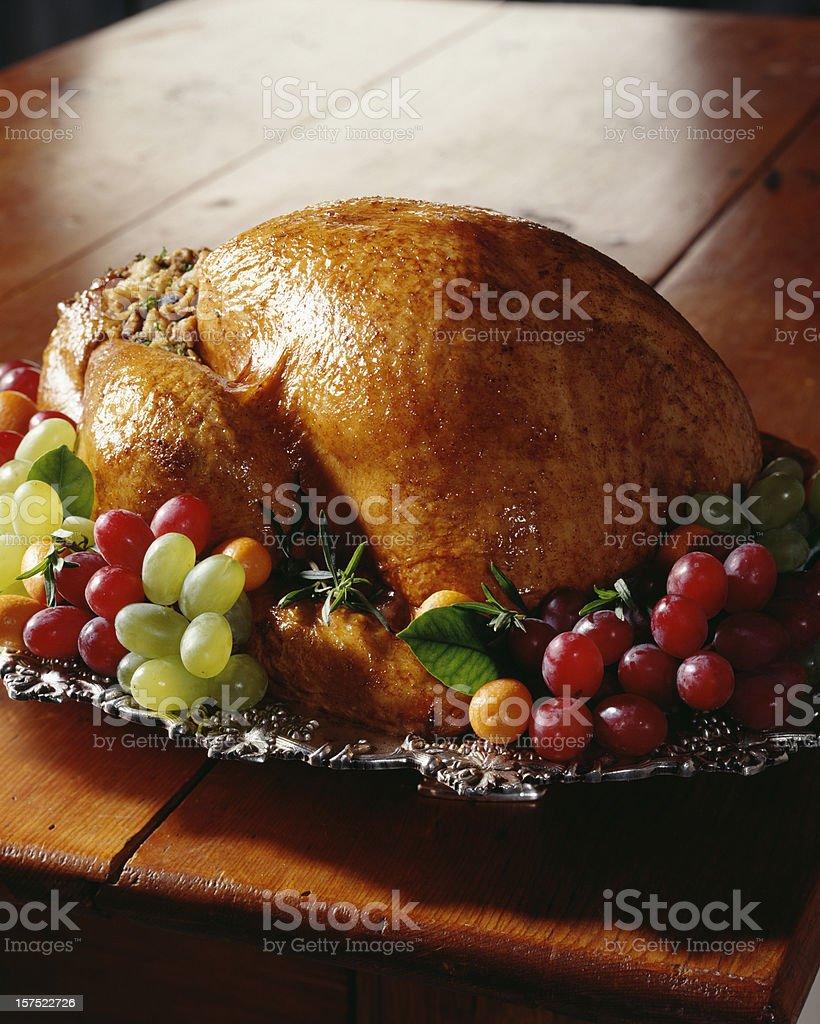 Roasted Turkey on harvest table. stock photo