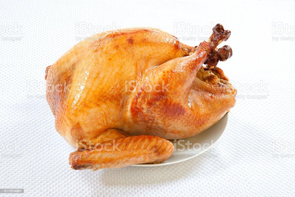 Roasted Turkey on white stock photo