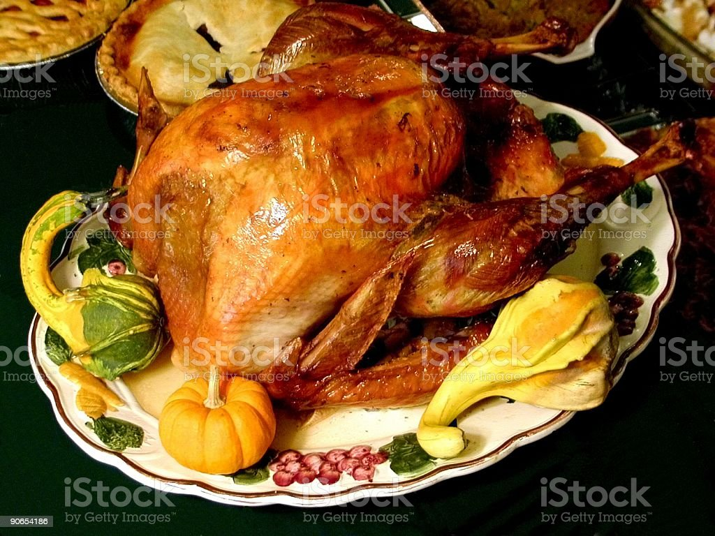 Roasted turkey served with a few vegetables royalty-free stock photo