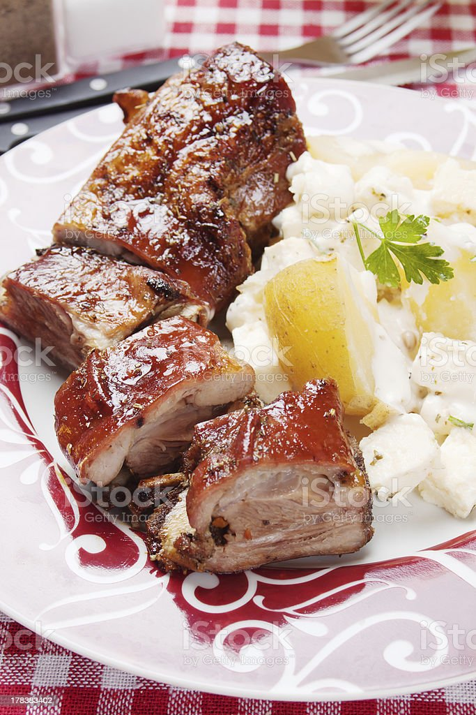 Roasted veal ribs royalty-free stock photo