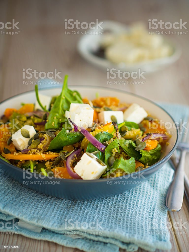 Roasted vegetable salad with quinoa stock photo