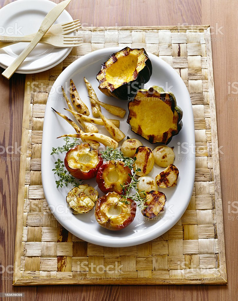 Roasted vegetables and apples royalty-free stock photo