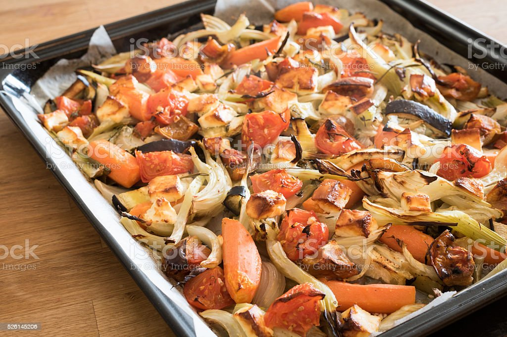 Roasted vegetables and cheese stock photo