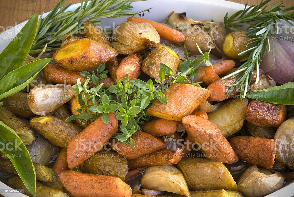 Roasted Vegetables: Carrots, Potatoes, Parsnips, Vegetarian Thanksgiving Food stock photo