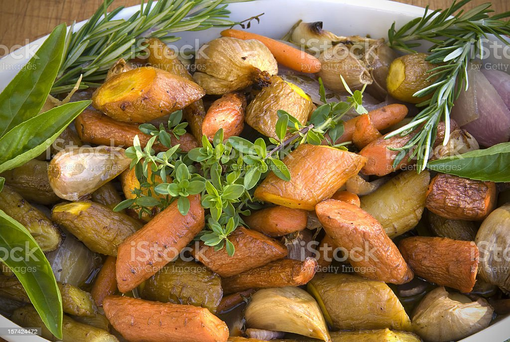Roasted Vegetables: Carrots, Potatoes, Parsnips, Vegetarian Thanksgiving Food stock photo