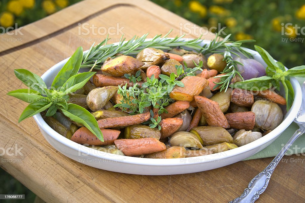 Roasted Vegetables: Carrots, Potatoes, Parsnips, Vegetarian Thanksgiving Food royalty-free stock photo