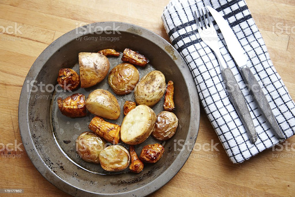 Roasted vegetables fresh from the oven royalty-free stock photo