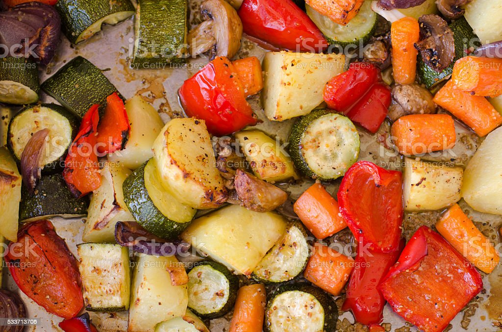 Roasted vegetables fresh out of the oven stock photo