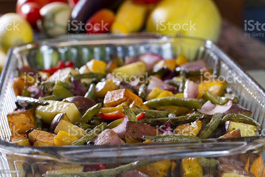 Roasted Vegetables in a baking pan fresh from the oven. stock photo
