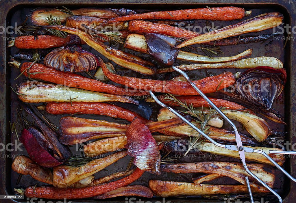Roasted Vegetables in on a Baking Sheet stock photo