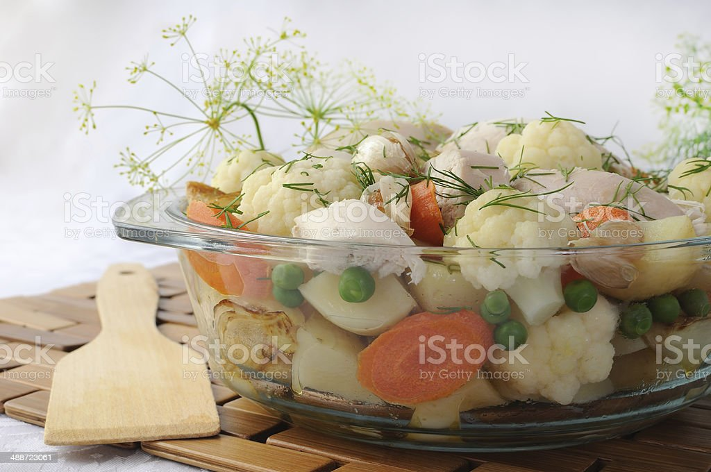 Roasted vegetables with chicken and dill royalty-free stock photo