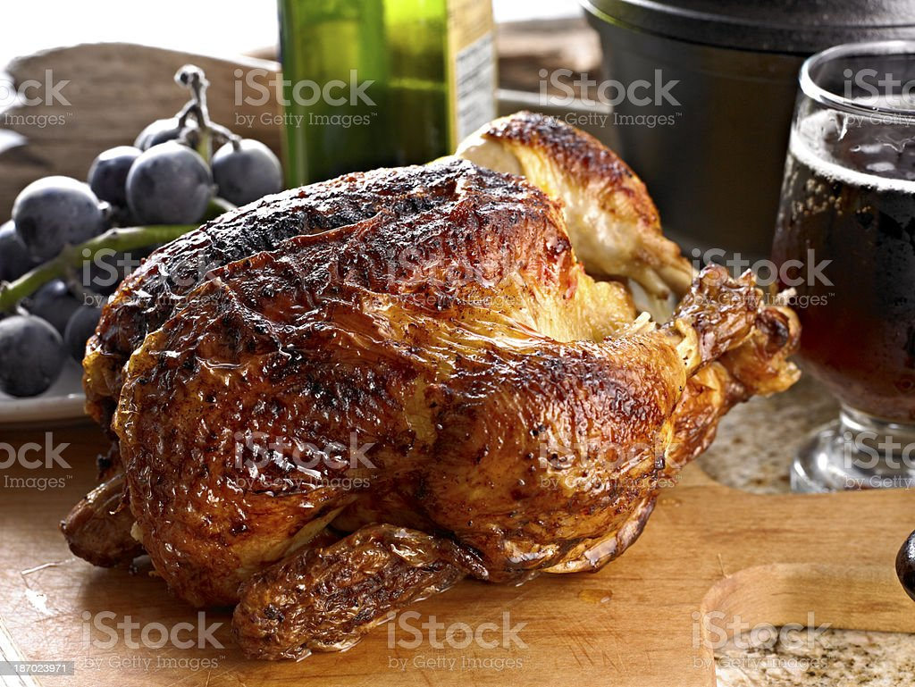 Roasted Whole chicken. royalty-free stock photo