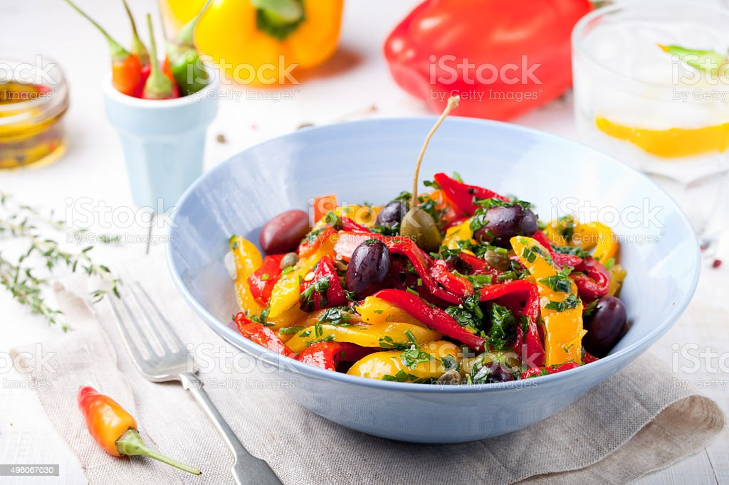 Roasted yellow and red bell pepper salad. Grilled vegetables. stock photo