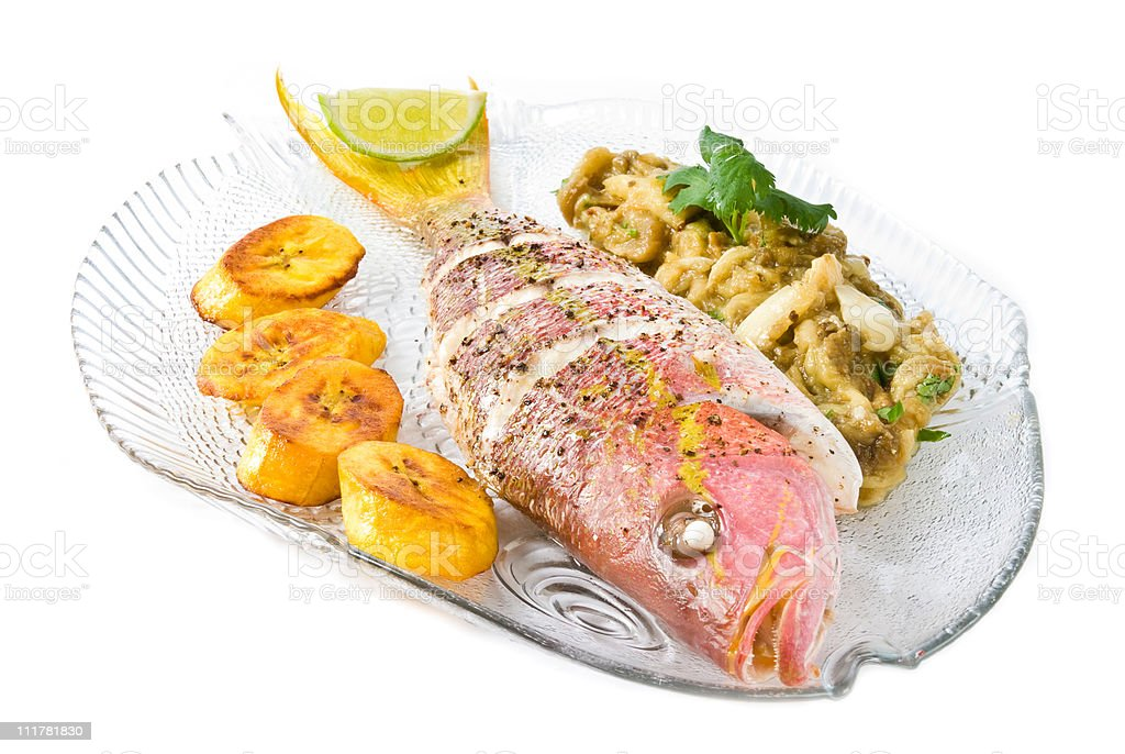 Roasted Yellow Tail Snapper stock photo