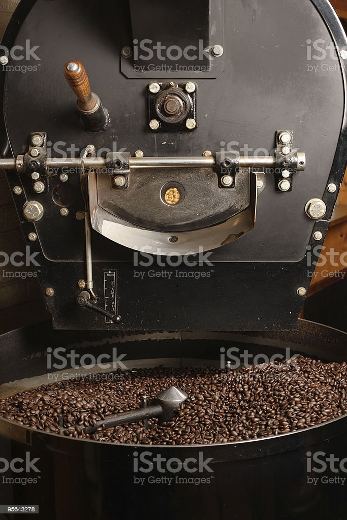 Roaster cooling coffee beans stock photo
