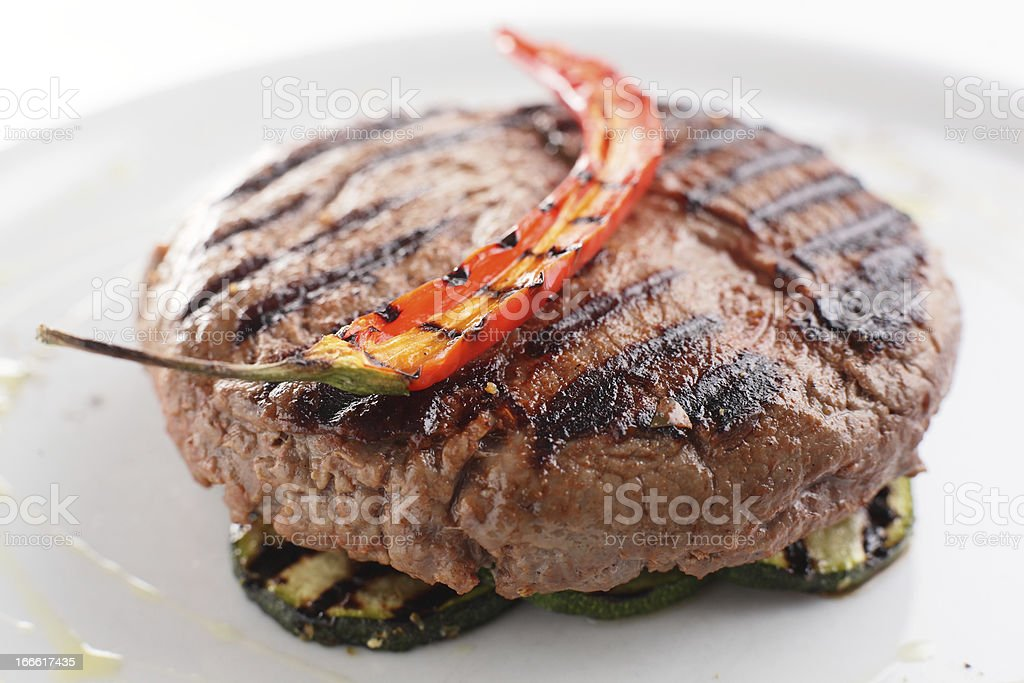 roaster meat with garnish royalty-free stock photo