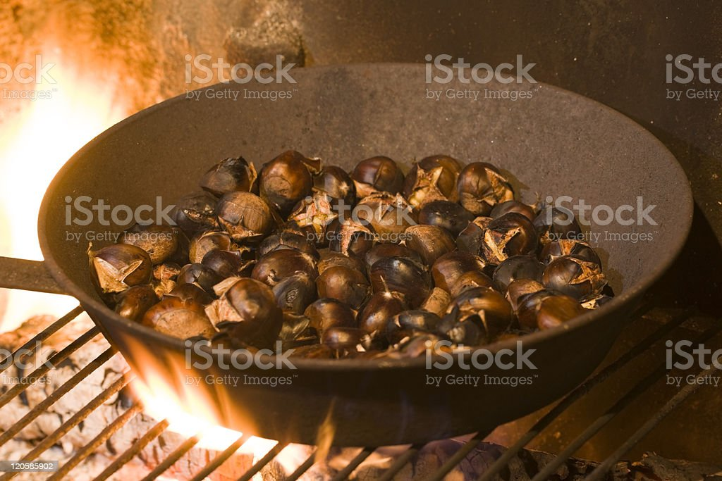 roasting Chestnuts royalty-free stock photo