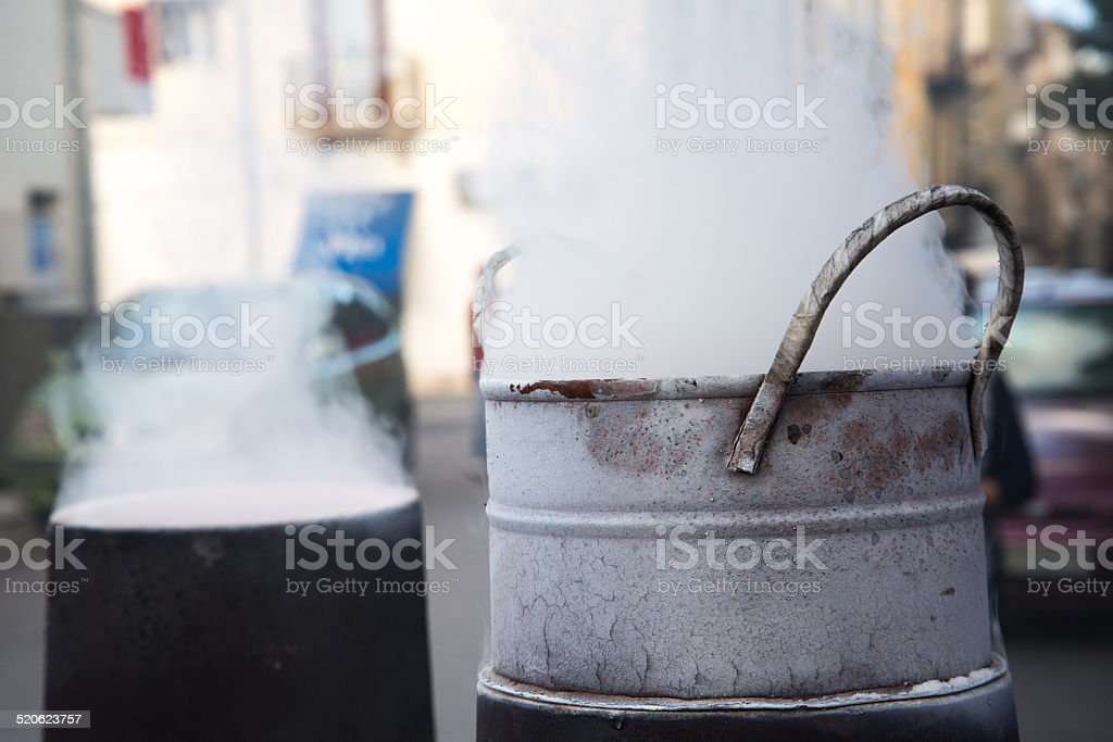 roasting chestnuts stock photo