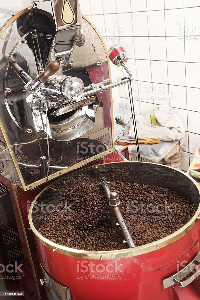Roasting coffee machine stock photo