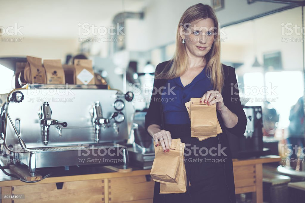 Roasting coffee stock photo