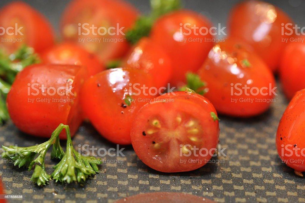 Roasting Cooking Cherry Tomato stock photo