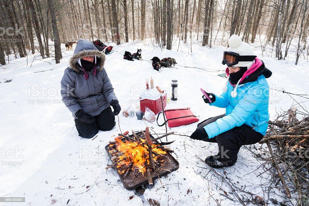 Roasting hotdogs in winter stock photo
