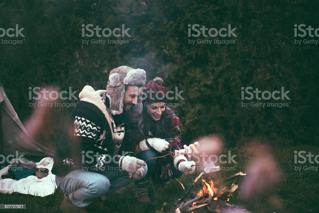 Roasting Marshmallows during camping stock photo
