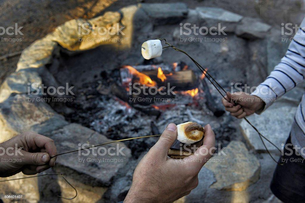 Roasting mashmellows over an open campfire stock photo
